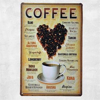 Coffee beans. Emaljeskilt med tekst om kaffebønner - NiceWall.dk