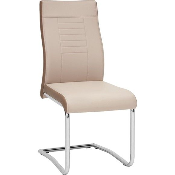 Dieser Schwingstuhl von CARRYHOME harmoniert perfekt mit Ihrem modernen und eleganten Wohnkonzept! Im chicen <b>Lederlook</b> überzeugt der Polsterbezug aus feinen Synthetikfasern durch die stilvolle Farbkombination aus zarten <b>Cremefarben</b> und hellem <b>Braun</b>. Ein geschwungenes Gestell aus chromfarbenem Eisen macht das Sitzmöbel schließlich zu einem echten Blickfang in Ihrem Speisezimmer.<div><br></div><div><div>Der moderne Schwingstuhl verfügt über eine angenehme Sitzhöhe von ca…