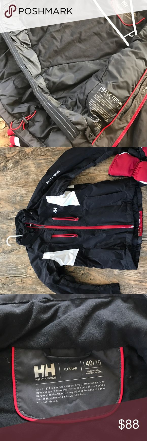 Helly Hansen Youth Ski Jacket Ski Jacket, with Helly Tech® Performance technology with waterproof, breathable fabric combined with PrimaLoft® Black insulation.  Waterproof zippers, powder skirt, many pockets. Used only 3 times.  Will throw in the gloves. Helly Hansen Jackets & Coats