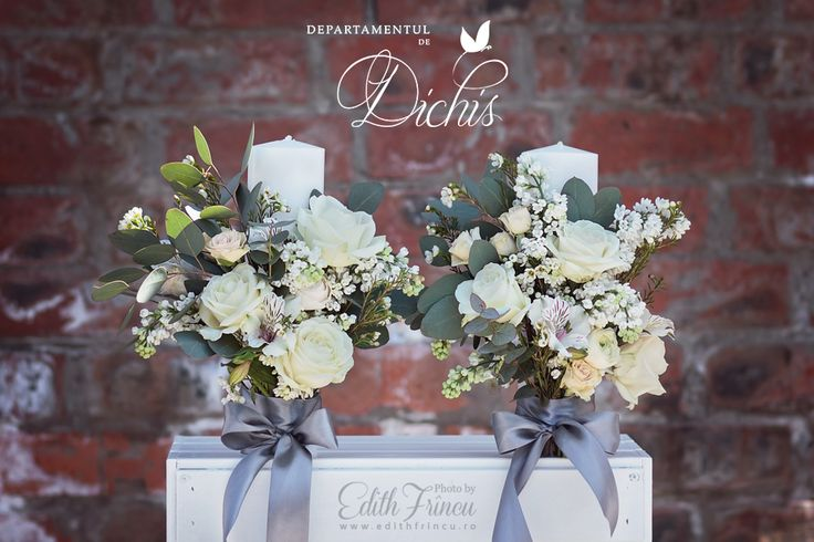 Church candles decorated with spring flowers and greenery. Natural and romantic looks are the best!
