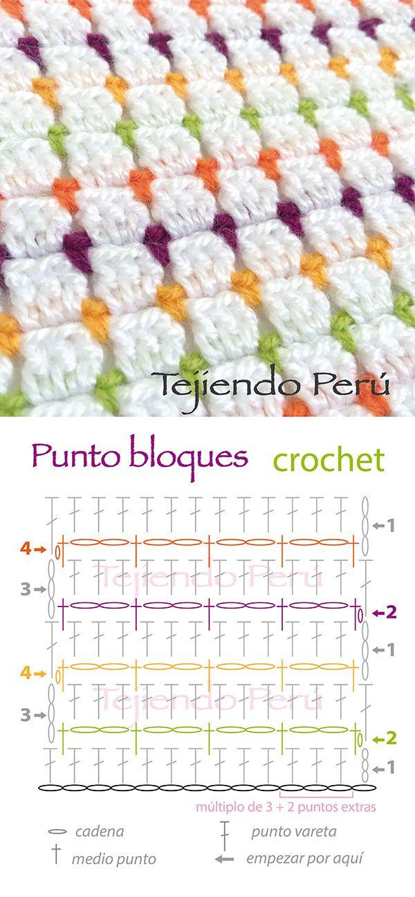 Diagrama del punto bloques tejido a crochet... lindo y muy fácil de tejer!