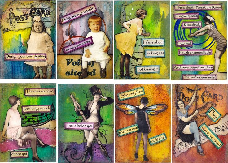 more playing card mixed media quote cards