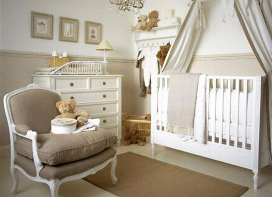 Beautiful and simple.  Too fancy for us but I love the curtain canopy over the crib.
