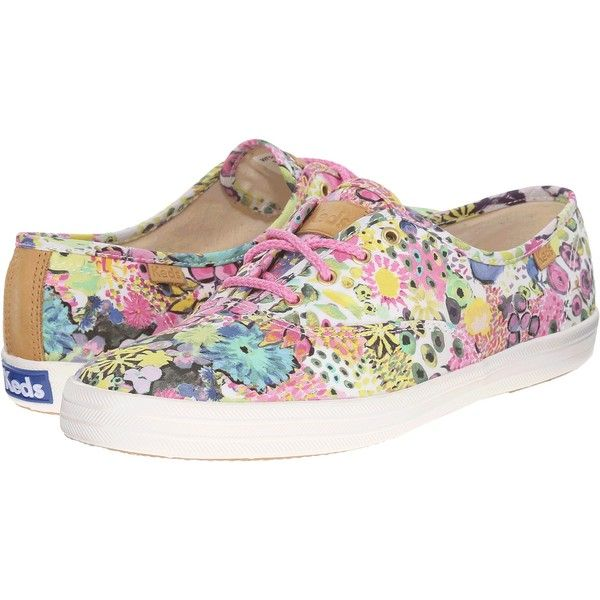 Keds Champion Liberty Floral (Pink Multi) Women's Lace up casual Shoes (67 BRL) ❤ liked on Polyvore featuring shoes, sneakers, pink, laced shoes, keds, pink floral shoes, pink trainers and flower print shoes