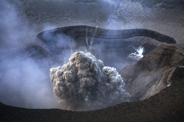 First phase of a strong ash eruption inside the summit crater from Yasur volcano in Tanna Island, Vanuatu  Picture: MARTIN RIETZE