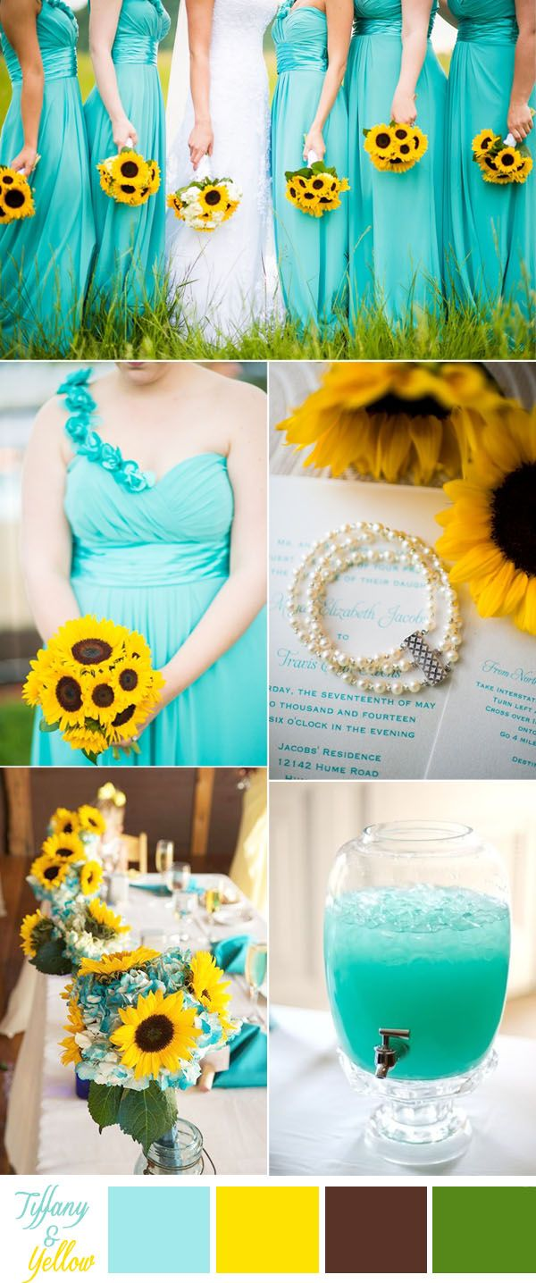 tiffany blue and sunflower rustic wedding inspitation