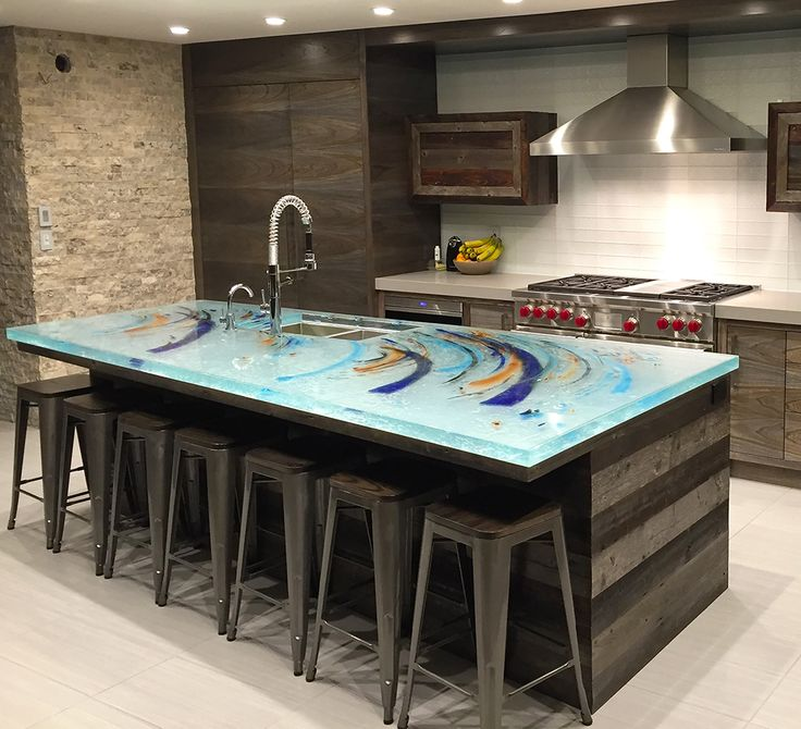 Glass tops for unique kitchen countertops