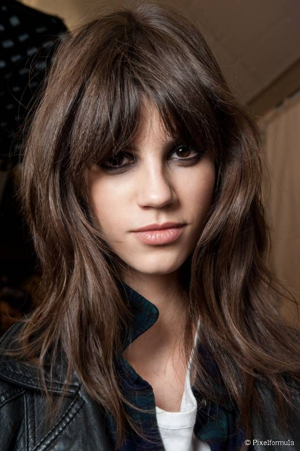 Great bangs - Heavy fringe with a perfect brown hue.