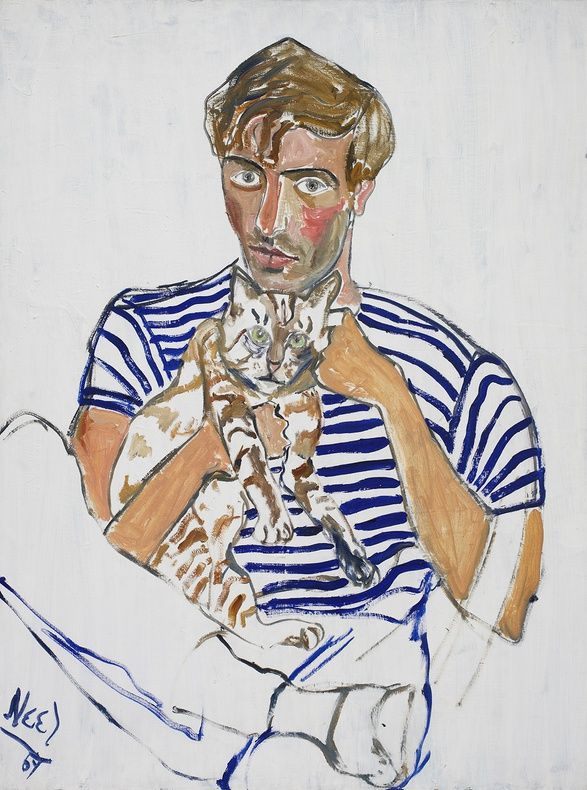 alice neel paintings | Eddie Zuckermandel and the Cat shows the titular subject seated behind ...