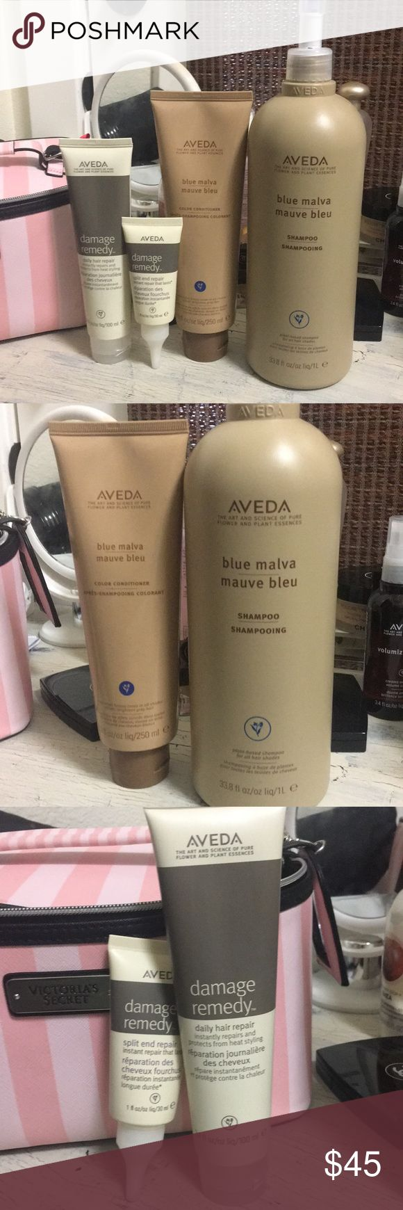 Aveda hair products 4 piece bundle Aveda blue malva shampoo large size full,blue malva conditioner small size8.5oz damage remedy set (all 4 piece)all new and full. aveda Other