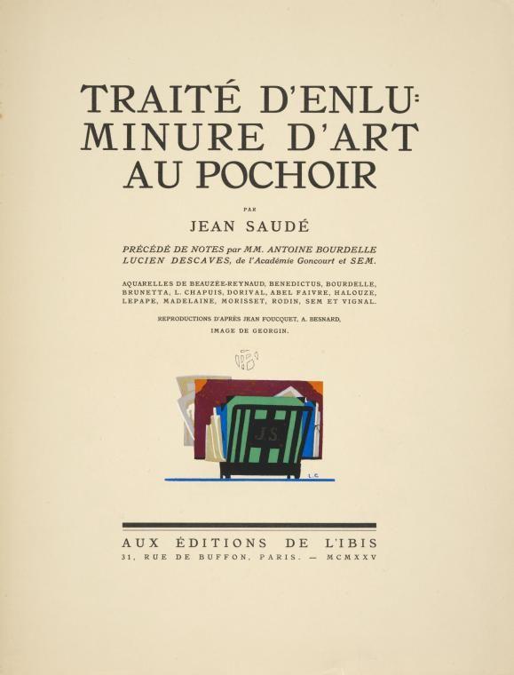 """Title page of """"Traité d'enluminure d'art au pochoir""""  [Treatise on the art of pochoir.] 1925, Jean Saude"""