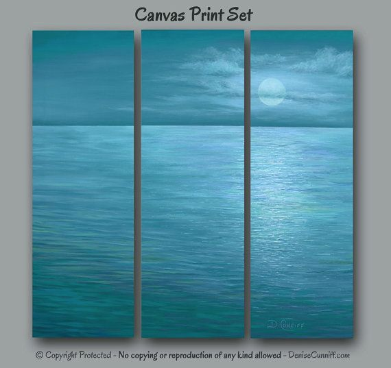 3 Piece Multi Panel Teal Blue Turquoise Wall Art Seascape Canvas Print Set Coastal Decor Beach Moon Moonlight Office Bedroom Artwork