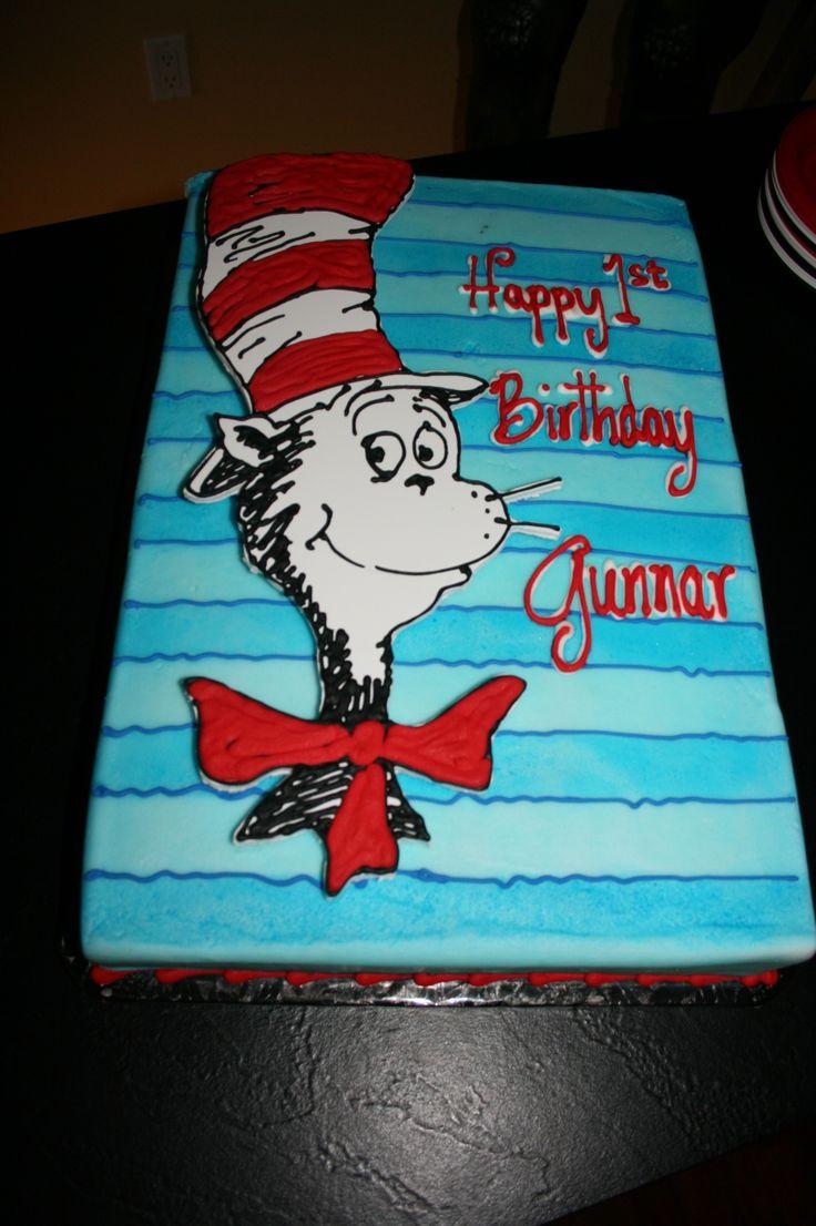 1st Bday Cat In The Hat Birthday Cake Birthday