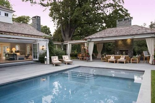 What about a seperate outdoor patio with fireplace... Eric Cohler Design in Fairfield, CT.