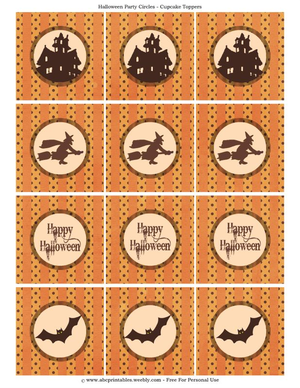 free printable halloween cupcake toppers - Print Out Halloween Decorations