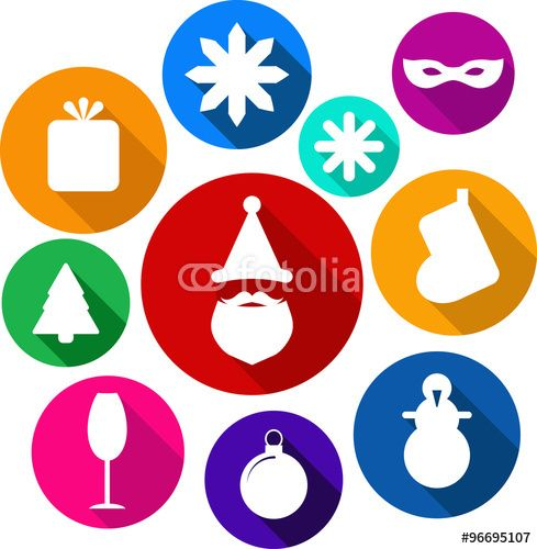 Vecteur : Set of bright flat xmas icons