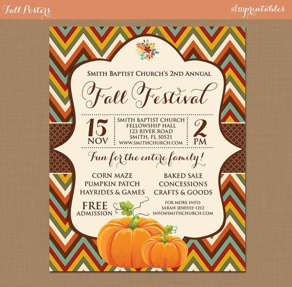 Fall Festival Harvest Invitation Poster / Pumpkin Patch Farm Template Church School Community Hayride Flyer / Fundraiser Autumn Craft Bake by sfmprintables