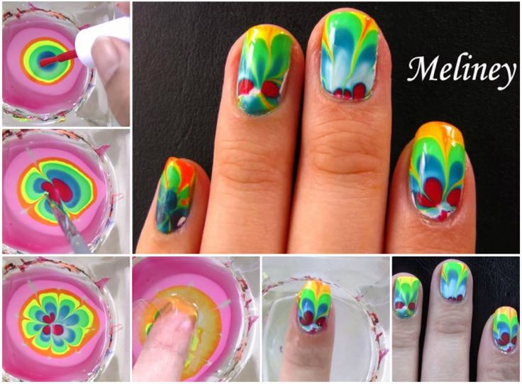 Rainbow Marble Nail Art, beautiful !  Tutorial with video--> http://wonderfuldiy.com/wonderful-diy-rainbow-marble-nail-art/