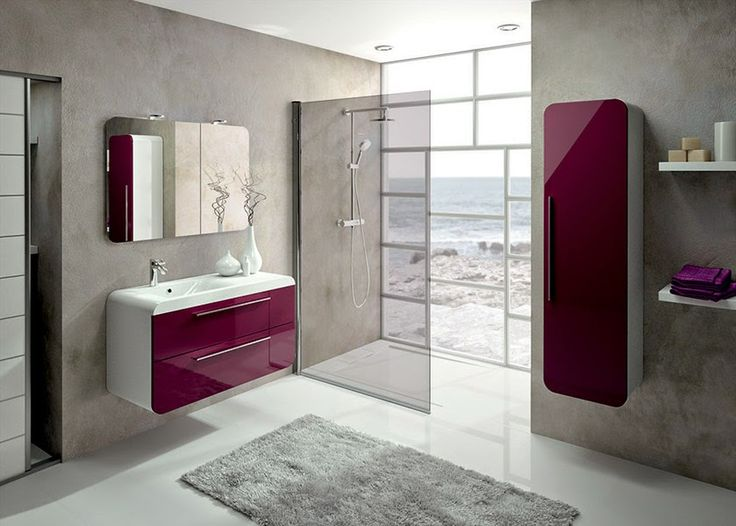 meubles de salle de bains igloss de aquarine couleur aubergine brillant salle de bain pinterest. Black Bedroom Furniture Sets. Home Design Ideas
