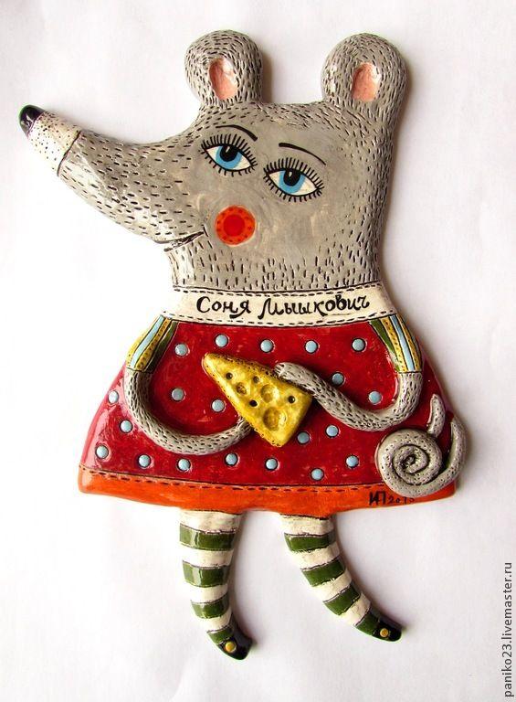 """Купить Декоративный подвес """"Соня Мышкович"""" - керамика ручной работы, Керамика, мышка, мышь, мышонок"""