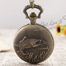 25pcs/lot Hot Selling Fishing Fish Pocket Watch Relogio Masculino Relogio De Bolso ship by EMS or DHL
