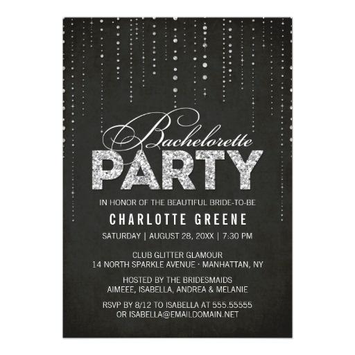 Sparkly Glitter Bachelorette Party Invitation