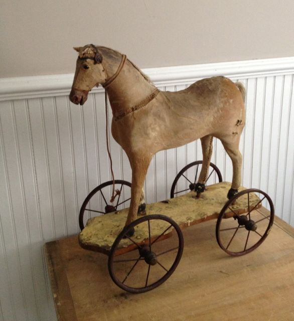 Antique Pull Toy English Horse C. 1880...