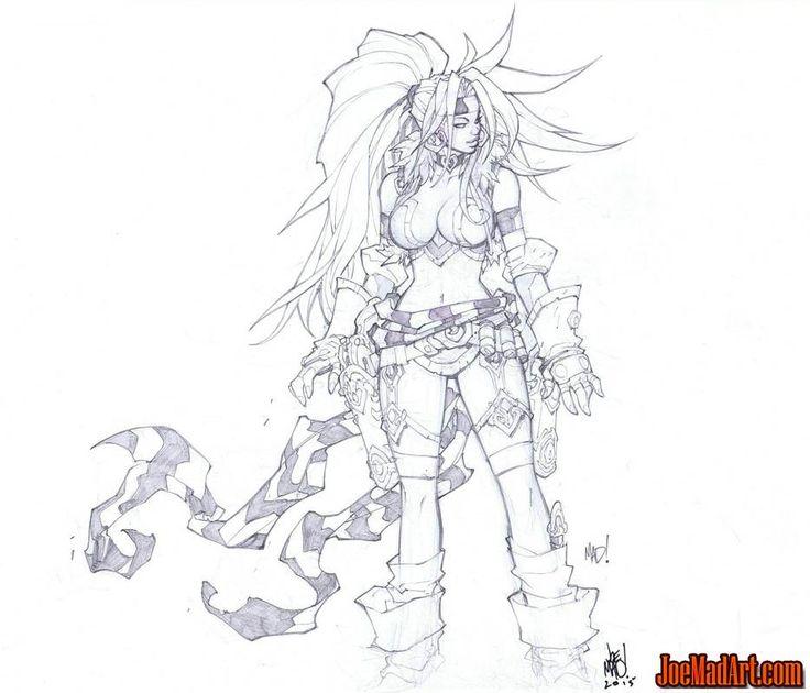 Battle Chasers Nightwar Red Monika game Portrait sketch - Joe Madureira…
