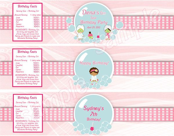 Spa Party Water Bottle Labels Wrap - DIY Print Your Own