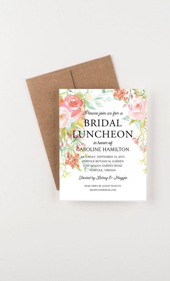 Bohemian Floral Bridal Luncheon Invitation by seahorsebendpress