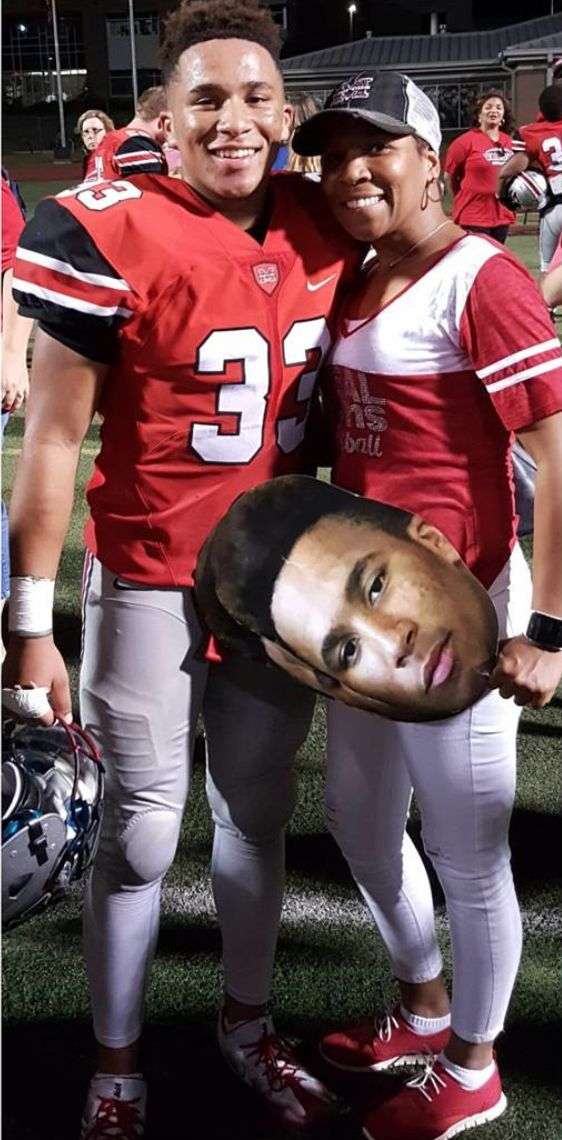 High school football with big head face cutouts!