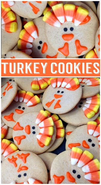 Candy Corn Turkey Cookies for a Thanksgiving Treat #Fall recipe idea for kids | CraftyMorning.com