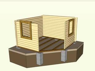 5EckBlockbohlenhaus Gartenhaus selber bauen