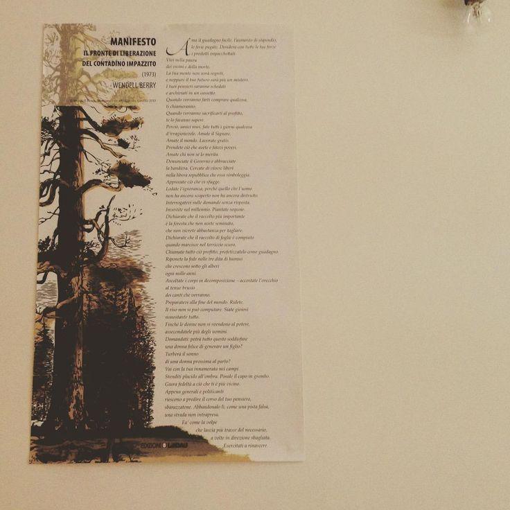 Il manifesto di #WendellBerry a casa di Diana :) #nonriescoasaziarmidilibri