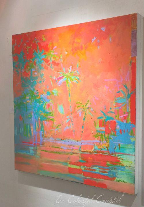 Brenda Belfield coral palms. I love how this piece enhances a coastal dining room.