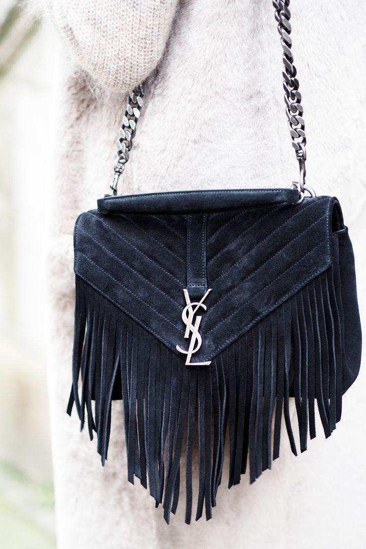 Yves Saint Laurent Monogram Serpent Medium Fringed Leather Shoulder Bag in Suede