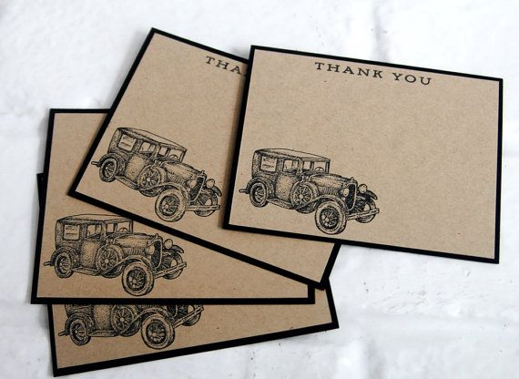 Classic Car Thank You Note Card Stationery by LaurasPaperCreations