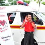 Taklimat diberikan kepada peserta Kembara Anak Merdeka dan Kempen Keselamatan Jalan Raya sebelum perjalanan dimulakan.