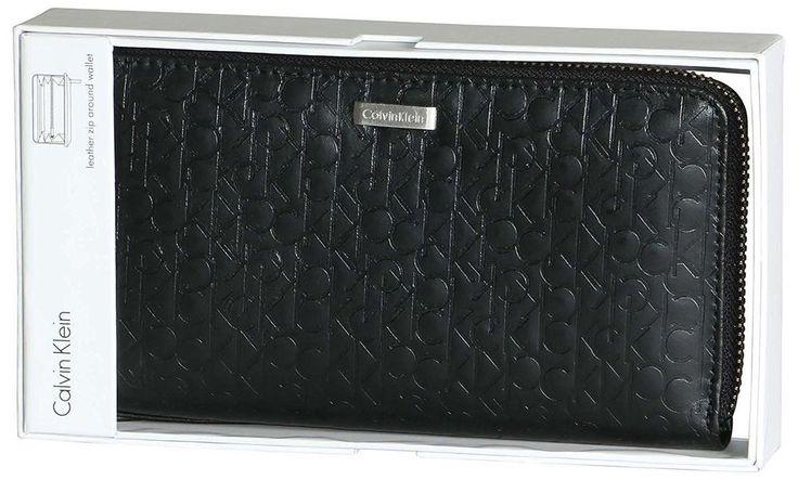 Calvin Klein CK Leather Zip Around CK Logo RFID Wallet Organizer Purse 74287 NEW #CalvinKlein #ORGANIZER
