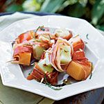 Proscuitto melon bites with lime drizzle-yummy!