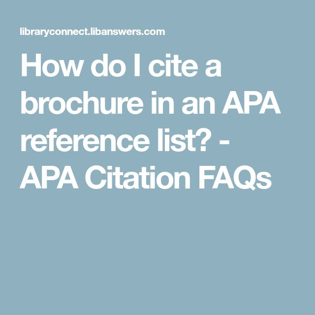 How Do I Cite A Brochure In An Apa Reference List Citation Faq National Institute Of Health Properly Cited Paraphrase With Signal Phrase And