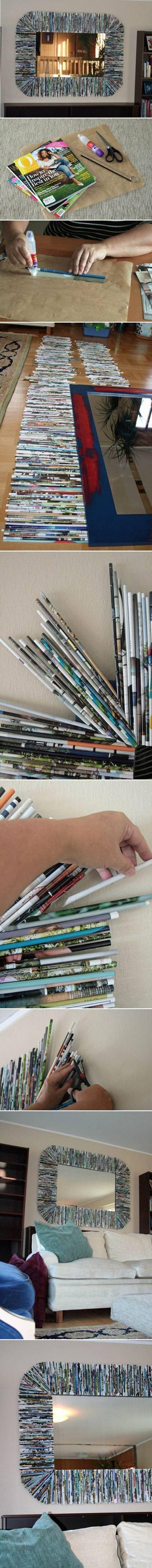 DIY Recycle Magazine Mirror Frame diy crafts craft ideas easy crafts diy ideas diy idea diy home easy diy for the home crafty decor home ideas diy decorations diy mirror