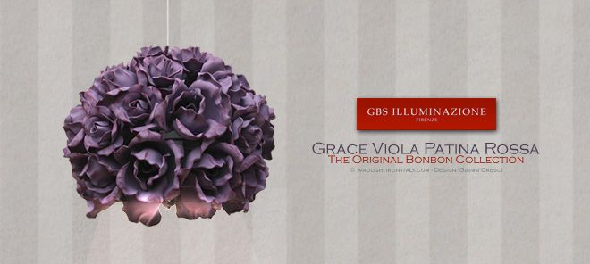 Single-light pendant - Grace Purple Pendant with Red Glaze - GBS Illuminazione – Ferro Battuto – Wrought Iron – GBS Arte e Colore  Single-light pendant with directional and diffused lighting from the Grace flowering roses collection. Purple antique tempera with red glaze.  GBS Bonbon Collection. Design: Gianni Cresci