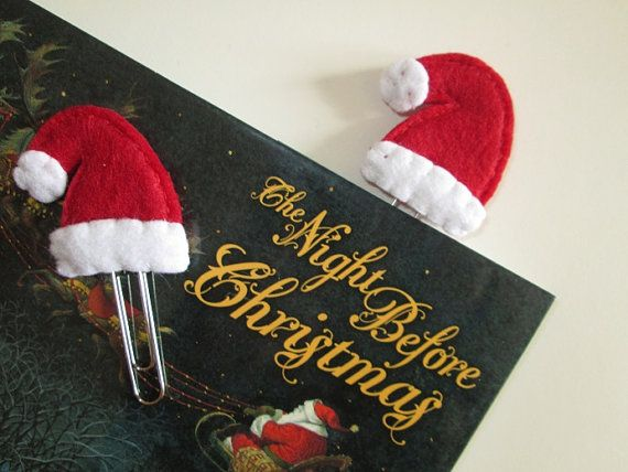 Christmas paper clip - Christmas Hat - Santa Claus' Hat -  Stocking stuffers - Bookmark for kids, readers, teachers -  Gift under 5 -