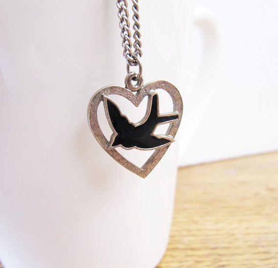 Vintage Silver Bluebird Heart Necklace Silver Bluebird Heart