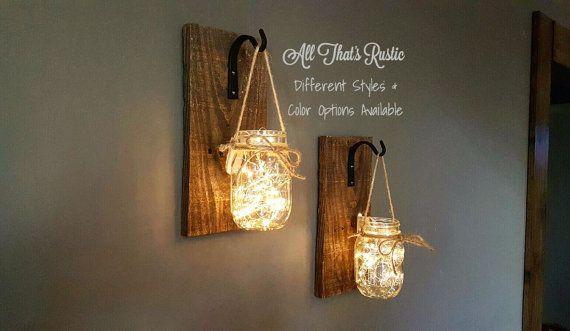 Set of 2 Hanging Mason Jar Sconces, Mason Jar Sconce, Mason Jar Decor, Rustic…