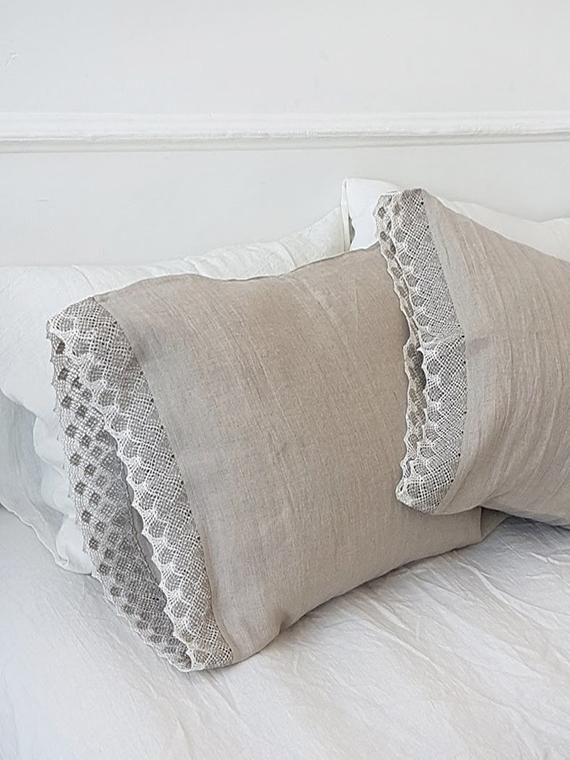 Linen Pillowcase with natural lace on