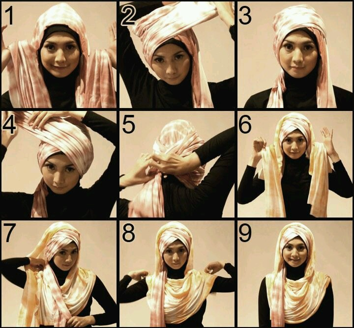 Lots of going on hijab style if you fancy turban style hijab...tutorial by My Baju Muslim Awesome in a different color