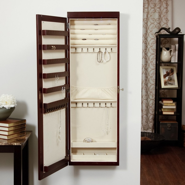 wall mounted lighted jewelry armoire woodworking