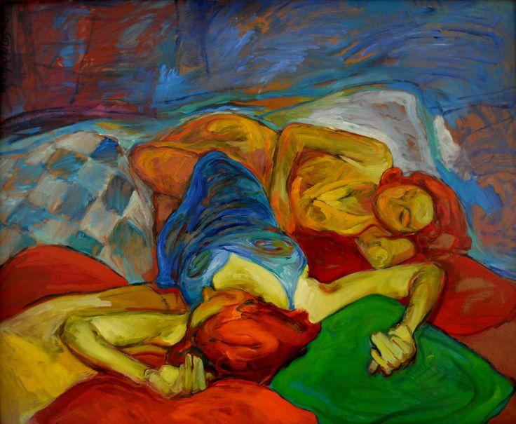 Las dos amigas, óleo-tabla, 60x73 cm.